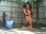 Desi Indian Young Bangladeshi couple bathing outdoor and having sex video exposed by sanshakarmini